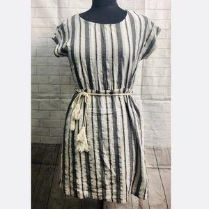 Love Riche Gray Cotton Stripes Tie Waist Dress